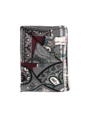 Etro: scarves - Wool and silk Paisley pattern scarf
