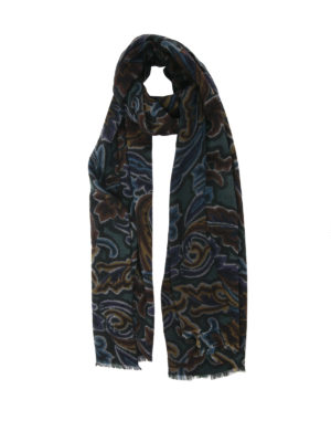 Etro: scarves - Wool and silk printed scarf