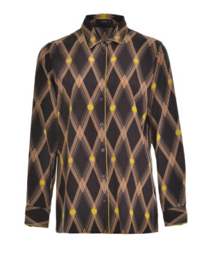 Etro: shirts - Diamond pattern print silk shirt