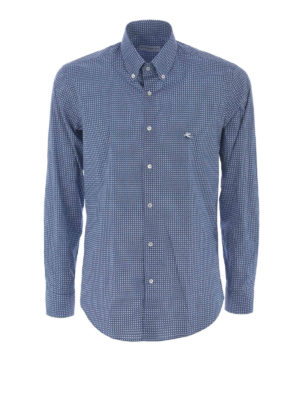 Etro: shirts - Micropatterned cotton b/d shirt