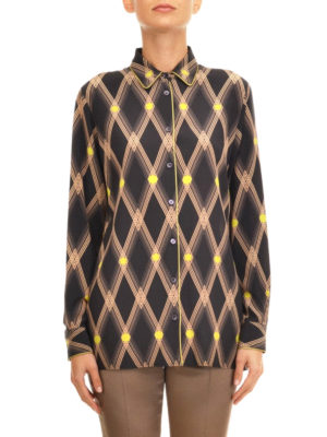 Etro: shirts online - Diamond pattern print silk shirt