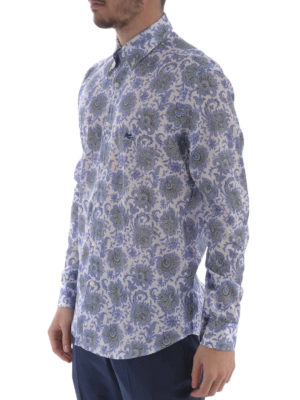 Etro: shirts online - Floral print cotton b/d shirt
