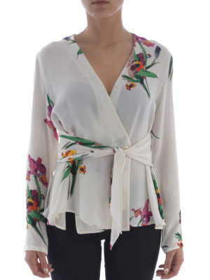 Etro: shirts online - Printed silk wrap belted shirt