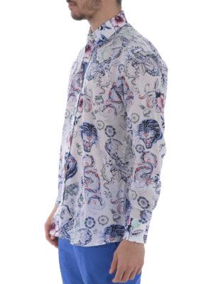 Etro: shirts online - Tattoo print cotton shirt
