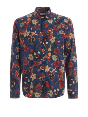 ETRO: shirts - Red flower blue cotton shirt