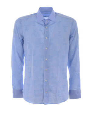 Etro: shirts - Tonal paisley cotton shirt