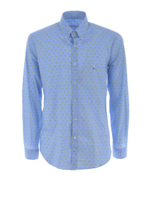 Etro: shirts - Two-tone paisley cotton b/d shirt