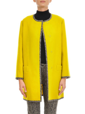 Etro: short coats online - Embroidered wool coat