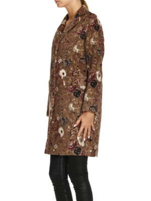Etro: short coats online - Wool and mohair floral coat