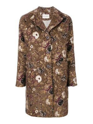 Etro: short coats - Wool and mohair floral coat