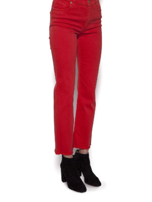 Etro: skinny jeans online - Red stretch cotton crop jeans