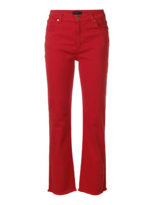 Etro: skinny jeans - Red stretch cotton crop jeans