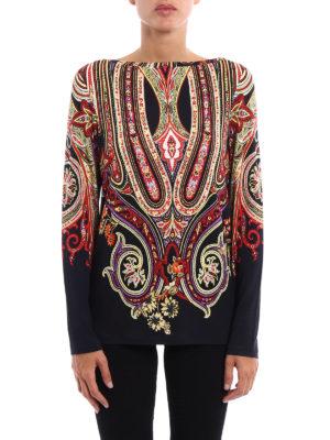 Etro: t-shirts online - Paisley pattern viscose T-shirt