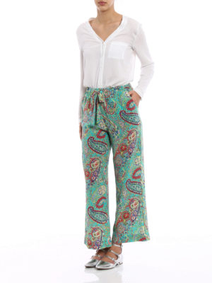 Etro: Tailored & Formal trousers online - Printed silk pajama style trousers