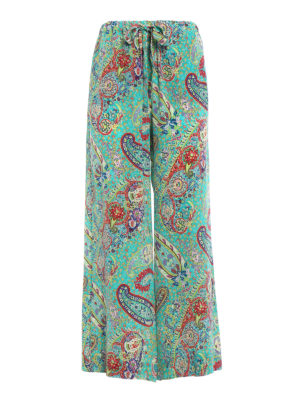 Etro: Tailored & Formal trousers - Printed silk pajama style trousers