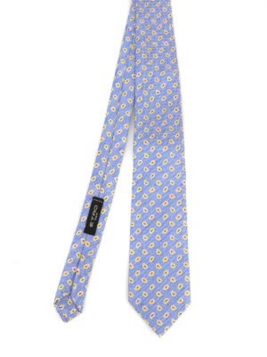 ETRO: ties & bow ties - Paisley micro patterned silk and linen tie