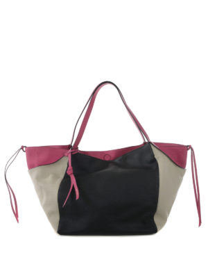 Etro: totes bags - Colour block large leather tote