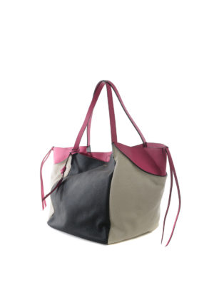 Etro: totes bags online - Colour block large leather tote