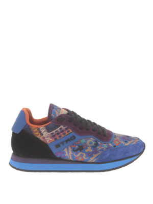 Etro: trainers - Jacquard paisley and suede sneakers