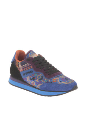 Etro: trainers online - Jacquard paisley and suede sneakers