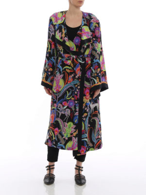Etro: trench coats online - Printed silk belted long trench