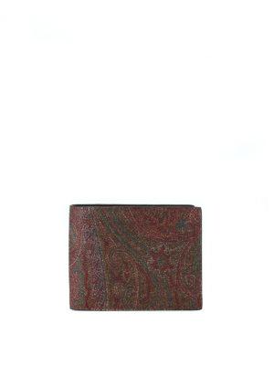 ETRO: portafogli - Portafoglio marrone in tessuto paisley