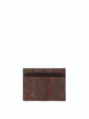 ETRO: portafogli - Portacarte marrone in tessuto paisley