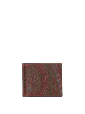 Etro: wallets & purses - Clip detailed Paisley wallet