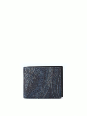 ETRO: portafogli - Portafoglio blu scuro in tessuto paisley