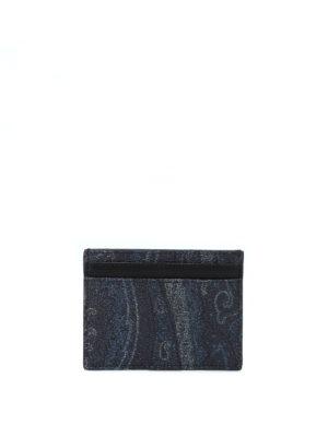 ETRO: portafogli - Portacarte blu scuro in tessuto paisley