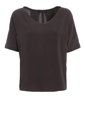 Fabiana Filippi: blouses - Brown silk blend over blouse