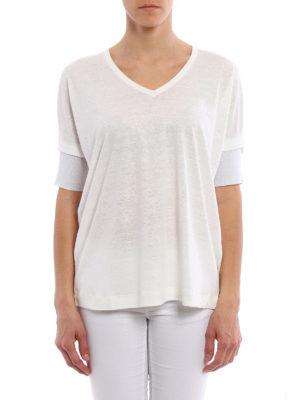 Fabiana Filippi: blouses online - Boxy linen blend jersey blouse