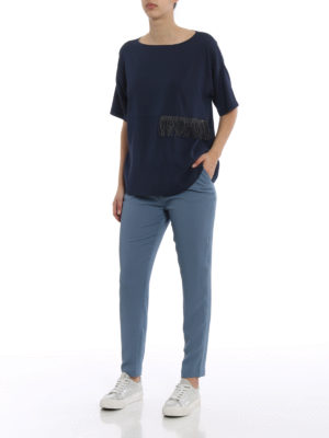 Fabiana Filippi: blouses online - Fringed silk crepe loose fit blouse