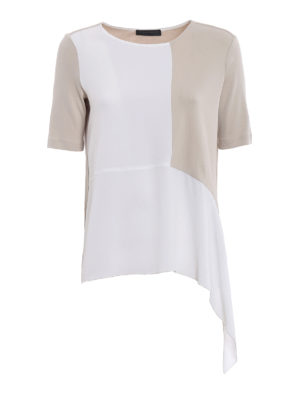 Fabiana Filippi: blouses - Silk panelled ribbed blouse