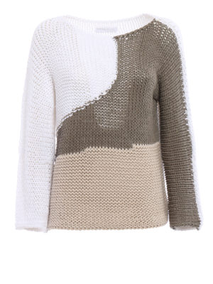 Fabiana Filippi: boat necks - Colour block knitted mesh pullover