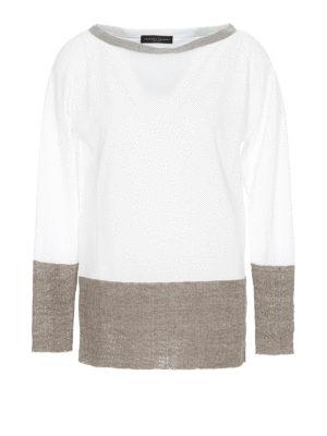 882cc08f9123d1 FABIANA FILIPPI: maglia collo a barchetta - Maglia in cotone bicolore con  monile