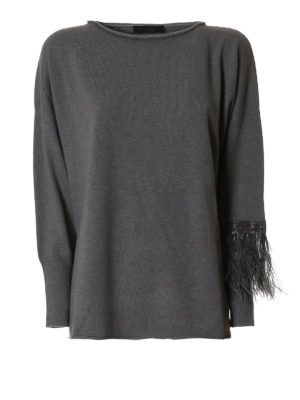 Fabiana Filippi: boat necks - Feather and monile cashmere sweater