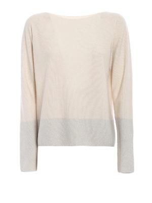Fabiana Filippi: boat necks - Lurex panelled white wool sweater