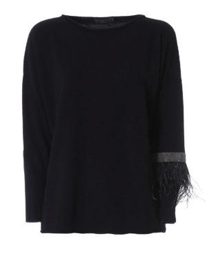 Fabiana Filippi: boat necks - Monile and feather cashmere sweater
