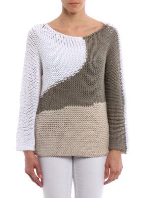 Fabiana Filippi: boat necks online - Colour block knitted mesh pullover