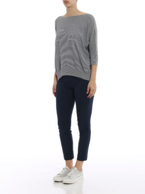 Fabiana Filippi: boat necks online - Embellished striped cotton sweater