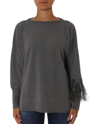 Fabiana Filippi: boat necks online - Feather and monile cashmere sweater