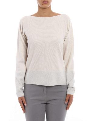 Fabiana Filippi: boat necks online - Lurex panelled white wool sweater