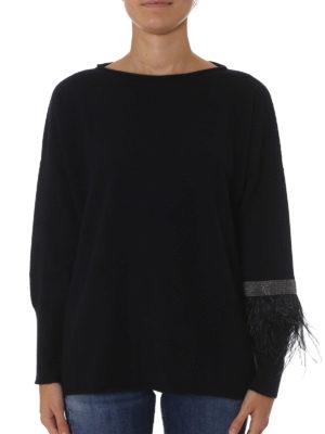Fabiana Filippi: boat necks online - Monile and feather cashmere sweater