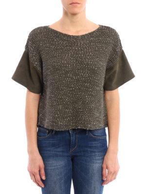 Fabiana Filippi: boat necks online - Suede sleeve crop cotton sweater