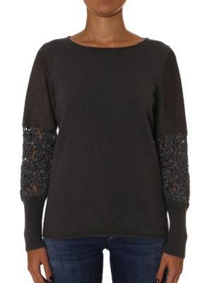 Fabiana Filippi: boat necks online - Suede sleeved merino wool sweater