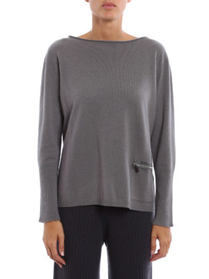 Fabiana Filippi: boat necks online - Zipped pocket boat neck pullover