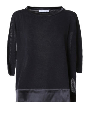 Fabiana Filippi: boat necks - Satin edges linen boxy boatneck
