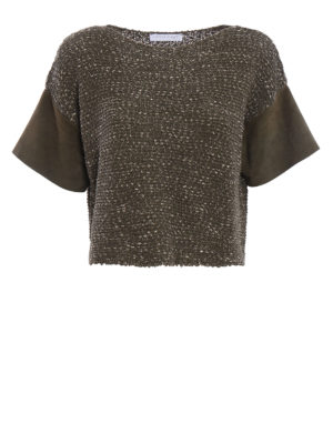 Fabiana Filippi: boat necks - Suede sleeve crop cotton sweater