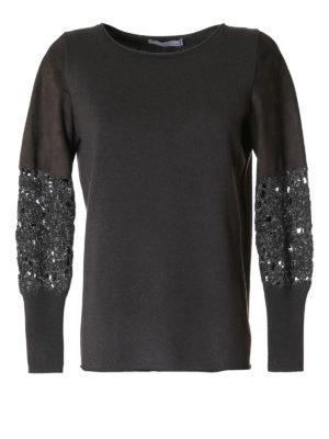 Fabiana Filippi: boat necks - Suede sleeved merino wool sweater